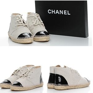 Chanel Beige Crackle Espadrille High Top Sneakers